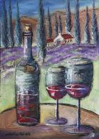Weinstillleben vor Landschaft