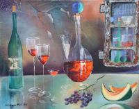 Weinstillleben mit Melone